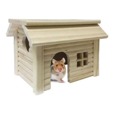 Casita de madera con ventana para roedores